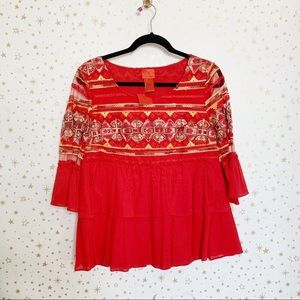 V Cristina | NWT Red Ruffle Embroidered Blouse